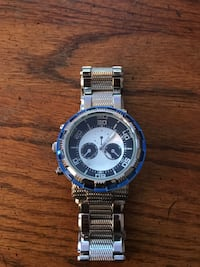 Round silver-colored chronograph watch with link bracelet Westminster, 21157