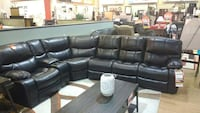 Reclining dark brown sectional