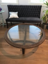 Round brown wicker framed glass top table Langley, V1M 0C8