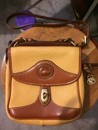 brown and yellow Dooney & Bourke leather crossbody bag
