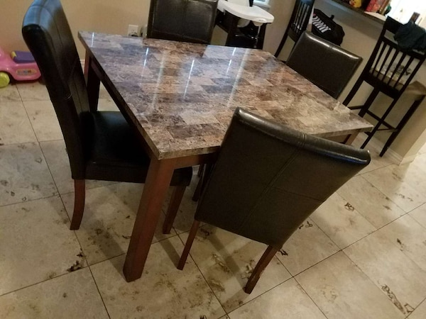 Used Rectangular Brown And Black Marble Side Table And For
