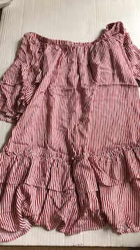 red striped off the shoulder ruffle dress Toronto, M5R 2R8