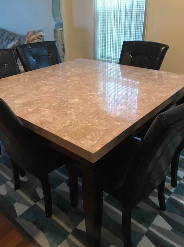 54 X Granite Table Top With 8 Chairs Dining Set