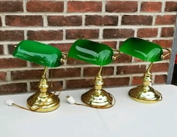 3 -BEAUTIFUL VINTAGE GOLD BRASS BANKERS DESK LAMPS