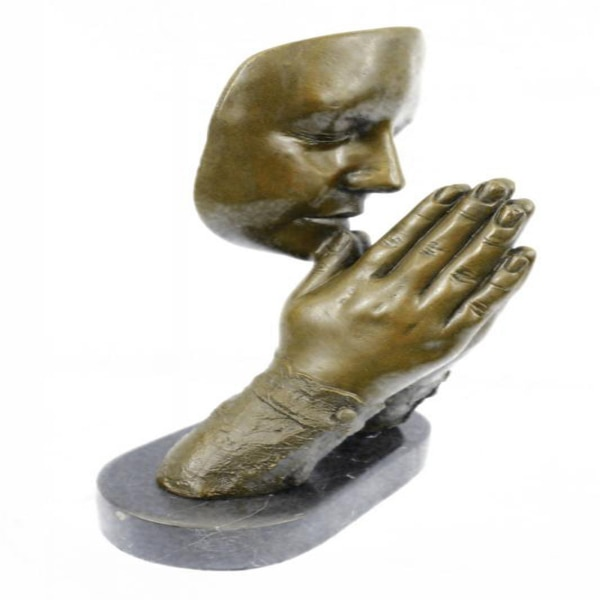 Amen Pray Bronze Sculpture on Marble Base Statue (13X9 Inches) dd2d1a8e-8fd3-4927-b78c-b8492a0a16c8