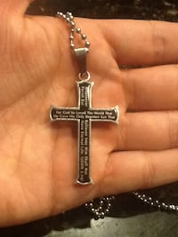 Silver and black cross pendant necklace Tucson, 85711