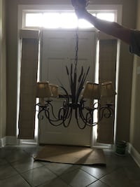 black and brown uplight chandelier Cheney