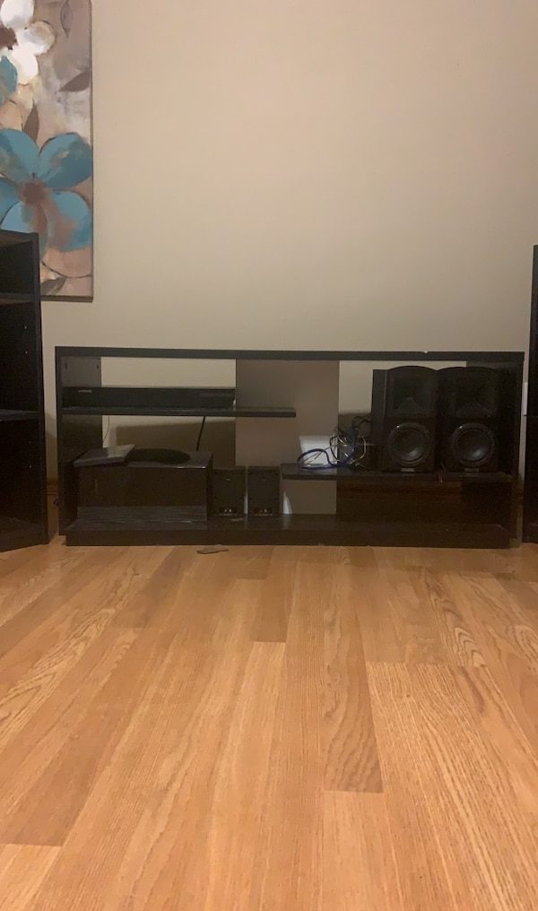Surround sound system and tv stand and 2 bookshelves  b4d1aa29-2aa5-44ab-bf65-53d41541c977