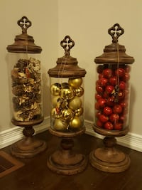 gold baubles, red apples and brown pine cones decors Brampton, L6P 2Z4
