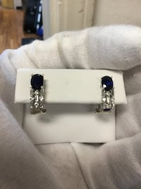 Synthetic sapphire ,cz earrings white gold 4.5 grams  South San Francisco, 94080
