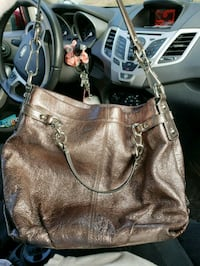 brown leather 2-way handbag Franklin, 03235