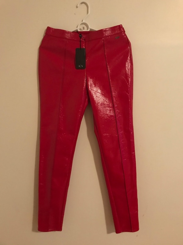 Red leather Armani Exchange leggings