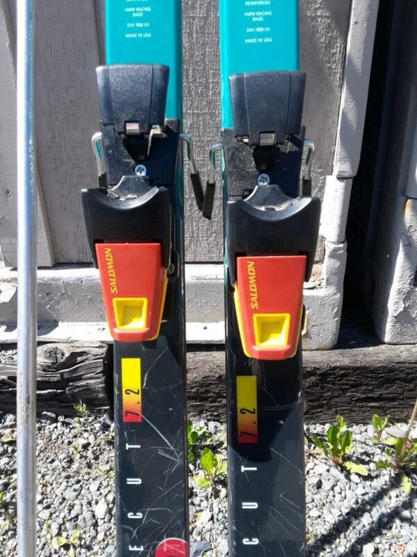 3 sets of salomon ski and bindings and poles  fc24c715-1d14-4f6d-925e-781c32478716
