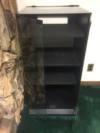 Black Glass Double Doors Cabinet with Glass Top Opens