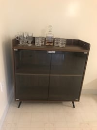 Glass door wooden bar cabinet with glass set and decanter