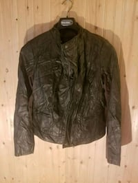 black leather zip-up jacket 3730 km