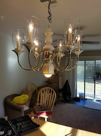 white and brass uplight electric candelabra chande Toms River, 08757