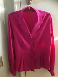 Hot pink/Lipstick pink Silk Shirt JH Collectibles ALEXANDRIA