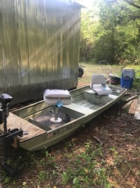 12 ft. Aluminum Fishing Boat. Brand new battery and seat still have the tags. Trolling motor is Minn Kota 30 lb thrust. The front seat is telescopic the rear seat is adjustable from side to side. It's wired for the battery to go in the rear of the boat an Bigelow, 72016