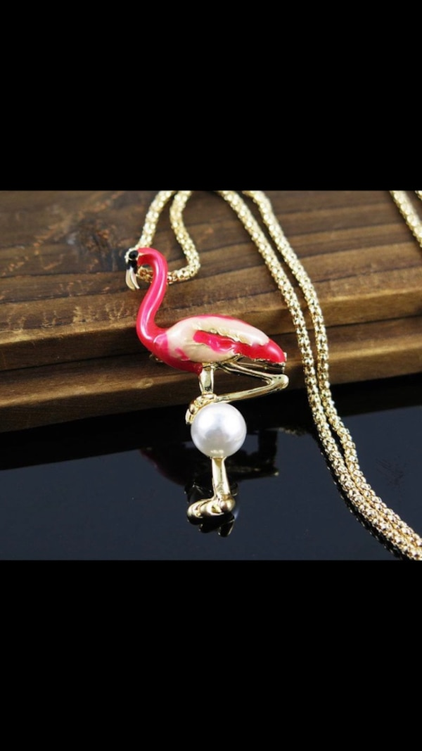 Pink Flamingo & Pearl Necklace Jewelry 9ce30dc7-cc1d-4ca8-bb29-dd13af69bae5