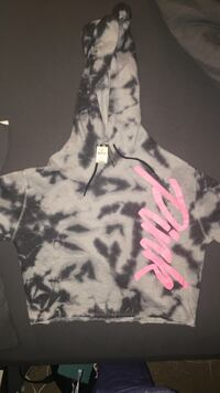 "VS ""PINK"" white and black camouflage hoodie."