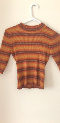brown, orange, and white stripe crew-neck sweater 22 km