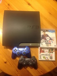 Black sony ps3 250 GB. CECH 200B console with 2 controllers and 2 games (FIFA 12 & 14) all cables included as well. Vancouver, V5Y 1Y7
