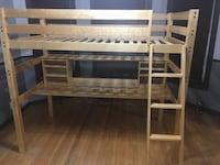 Light Birch wooden loft bed frame with underneath desk. Cost over $1000 Few scratches by Ladder location  Chicago, 60647