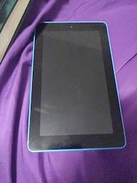 black and blue tablet computer