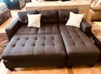 Brand New Grey Linen Sectional Sofa + Ottoman  Silver Spring