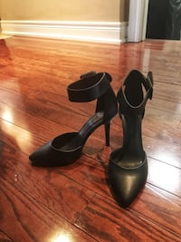 Black leather pointed-toe ankle-strap d'Orsay sandals