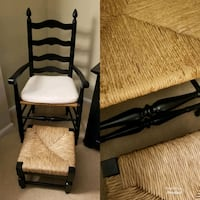 Plow & Hearth Black wicker chair and stool. New White cushion included Woodbridge, 22192