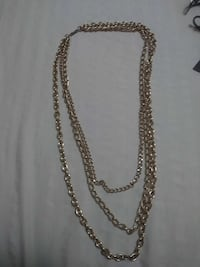 Gold-colored chain 3-strand necklace