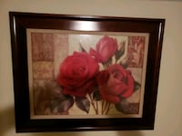 Rose Picture with Dark wood Frame