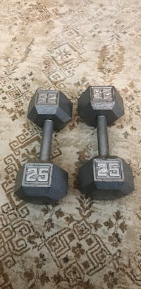 Two gray fixed weight dumbbells Vancouver, V5R 6H8