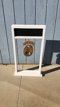 Wood hanging plant stand with chalk board for custom greeting Madera, 93638