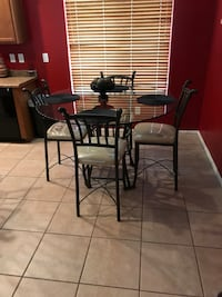 black steel framed glass top table with chairs San Tan Valley, 85140