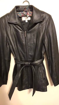Women's Black leather zip-up/belted jacket Southampton, 18966