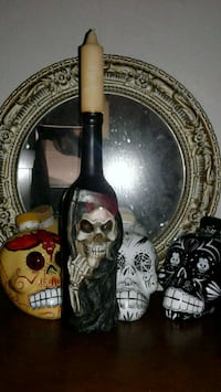 Black skull candle holder only