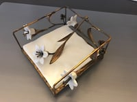 White and brown steel floral  napkin holder Irvine, 92620