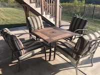 Fire pit table with four chairs and cushions Frankfort, 60423