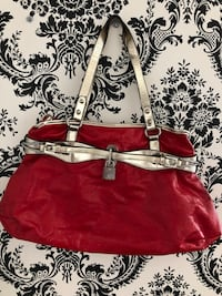 red and white leather tote bag Saint-Eustache, J7P