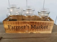 Farmer's Market wooden box and 3 glass jars