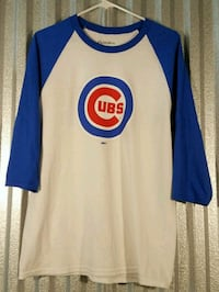 blue and white Chicago Cubs scoop-neck long-sleeved shirt