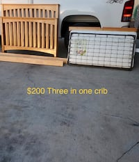 Three in one baby crib with mattress