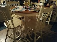 round brown and white wooden 5-piece dinette set