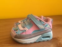 pair of girl's pink-white-and-teal velcro sneakers