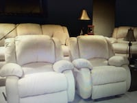 Cream color plush soft couch, loveseat, rockers