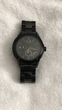 Round black michael kors chronograph watch with link bracelet Newburgh, 12550