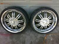 two chrome multi-spoke auto wheels with tires Modesto, 95354